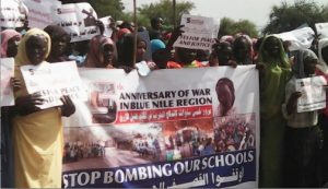 Maban refugees at protest (Nuba Reports)